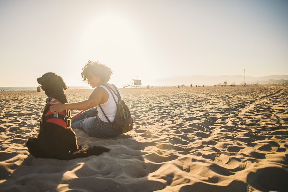 Girl with her Dog on a beach