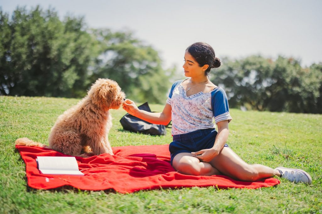 Pet Owner having at a public park with her Emotional Support Animal in Florida